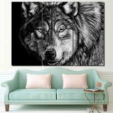 2017 canvas art wolf poster black white picture hd printed wall