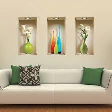 stickers livres trompe l oeil livraison gratuite set de 3 vases colorés wall sticker 3d
