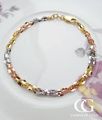 ladies gold chain bracelet images Ladies 9ct 3 colour gold 3 strand twist link bracelet chains of gold jpg