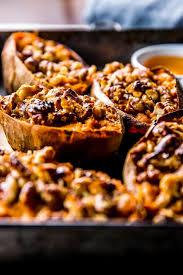 baked sweet potatoes with maple and walnuts savory nothings