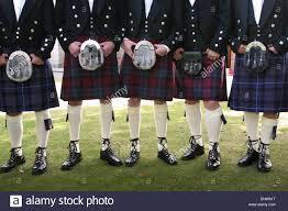 kilts and sporrans at scottish wedding scotland stock photo