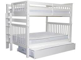 bunk beds full over full end ladder white trundle 712