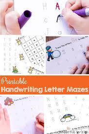 printable handwriting letter mazes for kids simple fun for kids