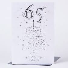 65th birthday card silver stars only 1 49