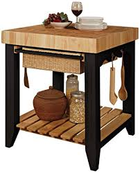 chopping block kitchen island amazon com powell color black butcher block kitchen island