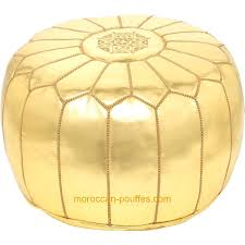 Gold Ottoman Moroccan Poufs Leather Luxury Ottomans Footstools Gold