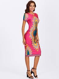 ornate print form fitting dress u2013 fabkini