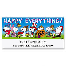 happy everything peanuts happy everything deluxe return address labels colorful
