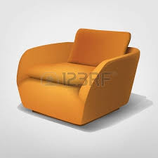 Orange Armchair Black And Orange 60s Furniture Collection Royalty Free Cliparts