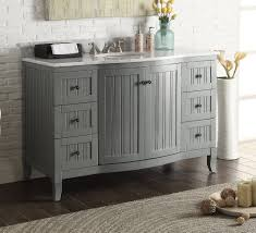 Bathroom Vanities Beach Cottage Style by 49 Inch Beadboard Grey Cottage Bathroom Vanity Carrara Marble Top