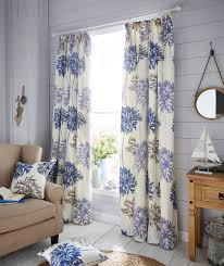 Blue Floral Curtains Dandelion Blue Large Floral Bargain Pencil Pleat Top Discount