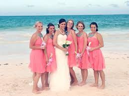 bridesmaid statement necklaces coral and aqua bridesmaid dresses bridesmaid bright coral
