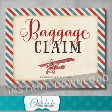 baggage claim sign 8x10 inches vintage airplane baby