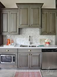 Kitchen Grey Wooden Kitchen Cabinet Floral Granite Backsplash