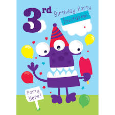 3rd Birthday Invitation Cards 3rd Birthday Party Supplies Party Delights