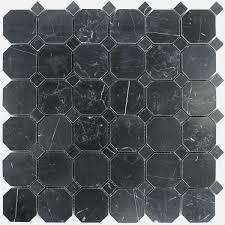 Marble Mosaic Tile Octagon Marble Mosaic Tiles Nero Polished Www Mosafil Co Uk