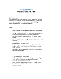 Job Desk Project Manager Public Works Manager Job Description Template U0026 Sample Form