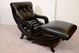 Leather Chaise Lounge Mid Century Black Leather Chaise Lounge Chair With Arms And Tufted