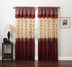 Chocolate Curtains With Valance Curtain Sets Living Room Amazon Com