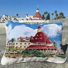 hotel coronado needlepoint pillow the shop