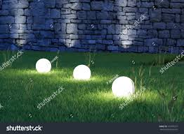 glowing spheres garden by night backyard stock illustration