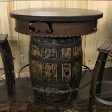 Barrel Bar Table Whiskey Barrel Pub Table Rustic Pub Table