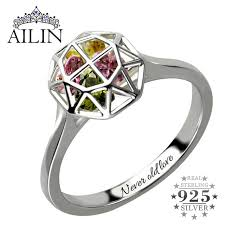 ring with birthstones personalized cage ring with birthstones silver family ring for