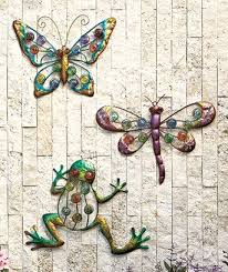 colorful outdoor wall decor butterfly dragonfly or frog metal