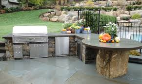 luxury backyard kitchen design l shape stone grill island gas bbq
