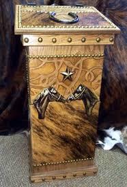 rustic wooden crosses with cowhide cow hide tooled western