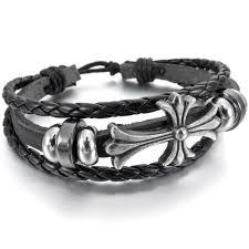 white leather bracelet images Men women 39 s 2 pcs alloy genuine leather bracelet bangle cuff black jpg