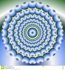 green and blue abstract circle element in optical art style