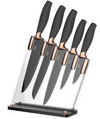 kitchen knives block set taylors eye witness copper 5 knife block set with