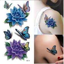 color peony flower butterfly designs temporary stickers