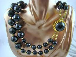 large beads necklace images Big bold black double strand lucite bead necklace vintage jpg