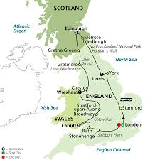 York England Map by Cosmos European Vacations