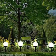 modern large solar powered white globe garden lights stake post