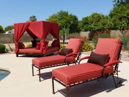 Outdoor Furniture Daybed Exterior Swing Daybed With White Canopy Using Wooden Arch Frame