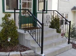 iron step railing with 2 inch square end posts and square casting