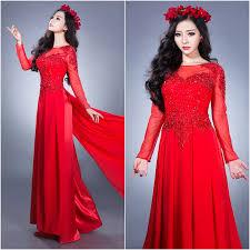 ao dai cuoi dep áo dài cưới đẹp màu đỏ ngực áo kết cườm và tuyến