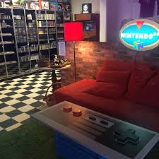 gaming seating area at café på bit video game store and cafe in