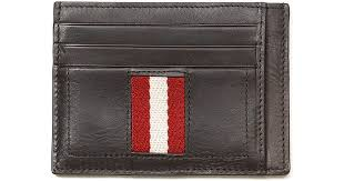 leather ribbon lyst bally leather ribbon card holder in brown for men