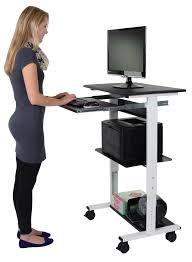 Computer Desk by Mobile Standing Computer Workstation With Tray Stand Up Desk Store