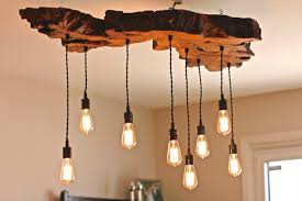 Hanging Edison Bulb Chandelier Olive Wood Live Edge Light Fixture By 7mwoodworking On Etsy