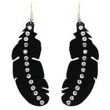black feather earrings black feather earring with bling on leather fabric shop southern