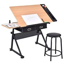 Drafting Table And Desk Tangkula Drafting Desk Drawing Table Adjustable With