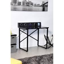 bureau 80 cm longueur bureau multimedia avec plateau verre tremp et pied mtal longueur