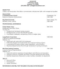 Resume Sample For College by Resume Examples Military