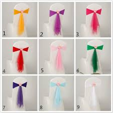 Chair Bows For Weddings Tutu Tulle Chair Sashes Satin Bow Sash Rose Flower Chair Bands