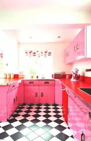 retro kitchen design style with diamond flooring shape and pink